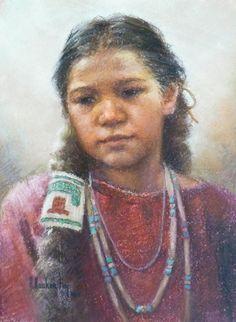 Arlene Hooker Fay (1937-2001 Montana) ''Indian Child'' : kK