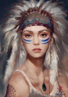 by liang qian on ArtStation. Native Indian, Native Art, Digital Portrait, Portrait Art, Native American Face Paint, American Indian Girl, Native American Headdress, Indian Photoshoot, Fantasy Portraits