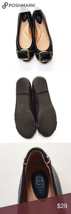 Fossil Maddox Black Leather Flats Excellent condition. Worn once. Silver buckle detail on the toes. Comes from a smoke- and pet-free house. 15% discount for bundles of 2 or more items! Fossil Shoes Flats & Loafers