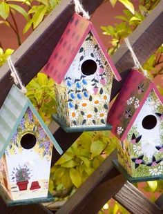 these bird houses are so cute and colourful to add extra decor and a nice home for your birds in the garden