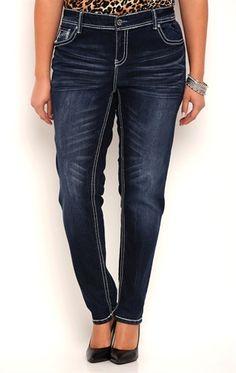 f829fbb1c44 Plus Size Ariya Curvy Fit Skinny Jeans with White Stitching Details