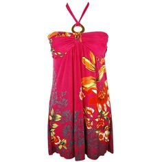 Hot Pink Tropical Floral Multi Print O-ring Halter « Dress Adds Everyday