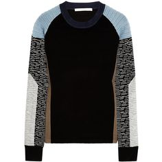 Jonathan Simkhai Color-block jersey sweater (£128) ❤ liked on Polyvore featuring tops, sweaters, shirts, jumpers, black, knitwear, medium knit, shirt sweater, colorblock shirt and multi color shirt