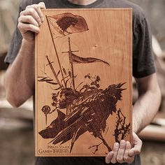 L'artiste SpaceWolf, Engraved Wooden Posters With A Laser