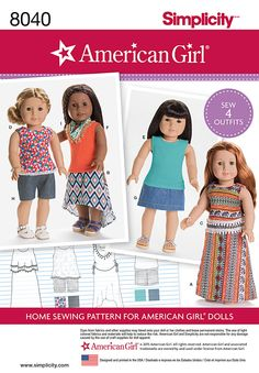 "Simplicity Creative Group - American Girl Doll Clothes for 18"" Doll"