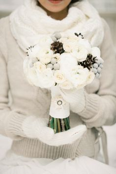 Style your own Gorgeous Winter Wedding Bouquet with a twist of Ruffled Fabric Ribbon Trim. Great look for bridesmaids // Photo by Anastasiya Belik {wedding photography, DIY, winter bride, bridal bouquet} Winter Wedding Decorations, Winter Wedding Flowers, Winter Weddings, Wedding Colours, Ruffle Fabric, Fabric Ribbon, Pinecone Bouquet, Winter Bride, Winter Wonderland Wedding