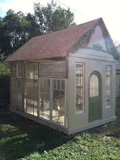 I love this garden shed made from old windows !(from Pollyanna Reinvents)