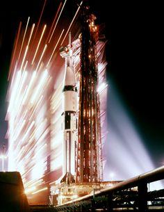 Apollo 7 - Saturn 1B at night on Pad 34