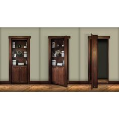 The Murphy Door 28 In. X 80 In. Assembled Medium Stained Hickory Flush  Mount Bookcase Wood Single Prehung Interior Door