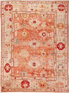 Authentic Antique Turkish Borlou Oushak Rug
