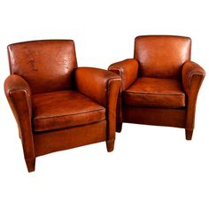1st Dibs Pair of French Vintage Square Back Leather Club Chairs