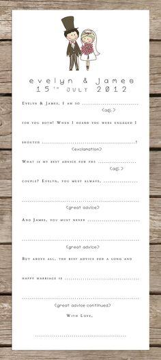 Bride and Groom Wedding MadLibs AdLibs - 50 cards. £25.00, via Etsy.