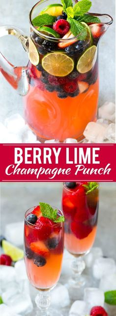 Berry Champagne Punch Recipe | Champagne Cocktail | Lime Cocktail | Berry Punch | Champagne Recipe