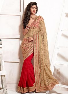 Red N Beige Half N Half #saree