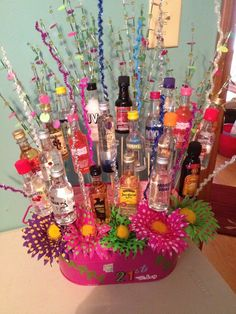 21st birthday bouquet alcohol | blame it on the alcohol. / 21st Birthday Bouquet.....,, 21st Birthday Bouquet, 21st Birthday Basket, 21st Birthday Gifts, Diy Birthday, Birthday Parties, Birthday Ideas, Birthday Beer, Alcohol Gift Baskets, Alcohol Gifts