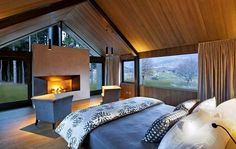 Lodge at The Hills is a luxury lodge offering an exclusive experience for up to 12 guests. Modern Barn House, Modern House Design, How To Build A Log Cabin, Chalet Design, Haus Am See, Barn Renovation, Luxury Accommodation, Cabin Homes, Cabana