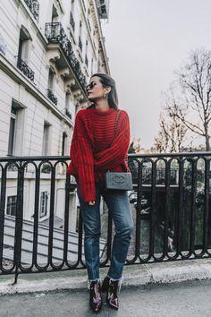 red knitwear, jeans, collage vintage, paris street style, красный свитер, джинсы, парижский стиль