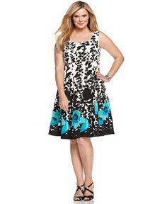 Nine West Floral Print Dresses | Nine West Plus Size Dress, Sleeveless Floral Printed A-Line | review ...