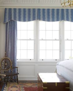 Very attractive scalloped valance on a dust board with trim & inverted pleats. Phoebe Howard; designer.