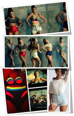 Kat Graham wearing Color blocked high waist shorts and bra by L.A.ROXX