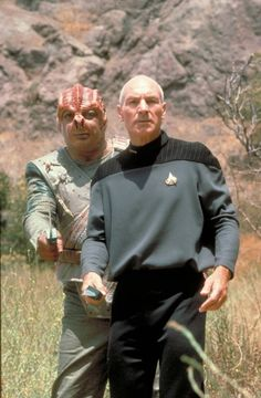 "My favorite TNG episode, ""Darmok."" ""Picard and Dathon on El-Adrel IV. Star Trek Books, Star Trek Characters, Star Trek Show, Star Wars, Stargate, Science Fiction, Celebrity Yearbook Photos, Star Trek Images, Starship Enterprise"