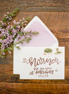 Hand Lettered Copper Wedding Invitation   Emily Katharine Photography   http://heyweddinglady.com/whimsical-modern-garden-wedding-copper-purple/
