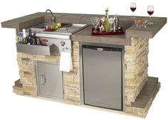 Bull BBQ Entertainers Bar Complete Bar Island comes standard with a Bar Caddy with Cold and Hot Water Sink and Condiment Holder, Single Access Door with Lock and Key, Non Outdoor Rated Cubic Foot Refrigerator and a GFCI Outlet - 31031 and 31032 Bull Bbq, Bbq Grill, Barbecue, Outdoor Sinks, Outdoor Kitchens, Outdoor Spaces, Outdoor Island, Grill Island, Outdoor Living