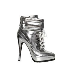 Blumarine 120mm Mirrored Lace Up Boots ($882) ❤ liked on Polyvore