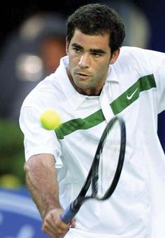 With Pete Sampras just about to hit the ball, you can clearly see Pete is not looking at the ball.