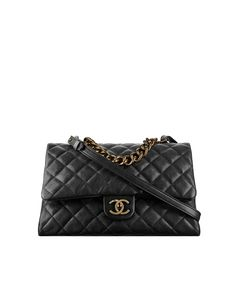 Flap bag with top handle, sheepskin & gold metal-black - CHANEL
