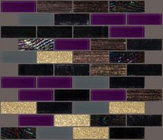 Gorgeous custom blend of plum, black, grey, and gold glass subway tiles! Love the dichroic, obsidian, and glitter tiles in this blend! #mosaic #backsplash
