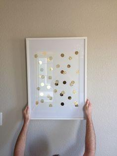 Veronikas Blushing: DIY Gold Polka-Dot Art: Perfect for a Nursery, Bedroom or Any Room! @c McClintock