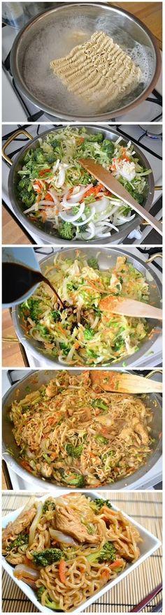 Food & juices: Chicken yakisoba