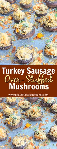 Best EVER Stuffed Mushroom recipe! Stuffed with Turkey Sausage, Peppers, and lots of other yummy goodness! Quick Appetizers, Easy Appetizer Recipes, Appetizers For Party, Brunch Recipes, Tailgating Recipes, Healthy Brunch, Healthy Snacks, Healthy Eating, Healthy Recipes