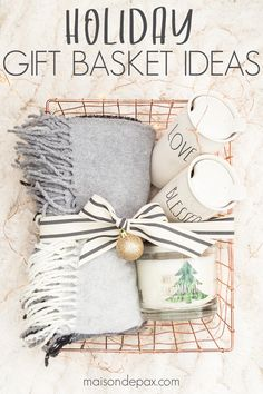 Home gift ideas are perfect for hostess gifts, teacher gifts, kids presents, and more. Check out these easy gift basket ideas for the holidays! Get FOUR adorable gift basket ideas for this holiday season! Christmas Gift Baskets, Homemade Christmas Gifts, Homemade Gifts, Christmas Crafts, Christmas Tree, Friends Christmas Gifts, Teacher Christmas Gifts, Womens Christmas Gifts, Homemade Gift Baskets