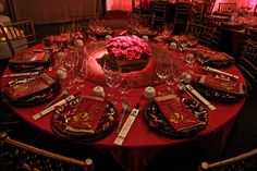 Chinese New Year decor ideas by Karol Franks, via Flickr. Red Chinese Banquet Table Scape for Wedding Reception.