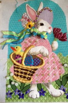 Beautiful needlepoint bunny, possibly Brenda Sofft