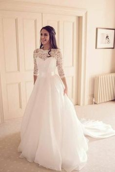 Vintage lace Sleeve Wedding Dresses,Modest Bridal gown with Train,Custom aline Wedding Dress · KProm · Online Store Powered by Storenvy Wedding Dress Trends, Fall Wedding Dresses, Wedding Dresses Plus Size, Bridal Dresses, Sleeved Wedding Dresses, Wedding Ideas, Christmas Wedding Dresses, Gown Wedding, Mormon Wedding Dresses