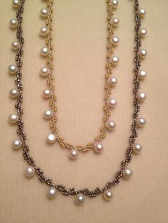 Seed bead woven necklaces. Beth Stone