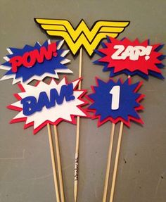 Wonder Woman Centerpiece,5 pc, Superhero party, Wonder Woman Party, Wonder Woman Birthday Party by InspiredbyLilyMarie on Etsy