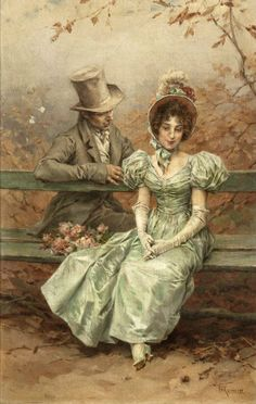 A Flirtation by Frederik Hendrik Kaemmerer (Dutch artist, 1839-1902)
