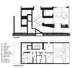 Section and ground floor plan. Optical Glass House by Hiroshi Nakamura & NAP, Hiroshima, Japan.