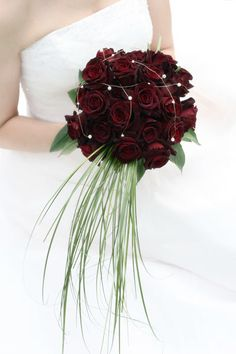 Roses Deep Velvet Red bridal bouquet