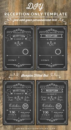 Chalkboard DIY Reception Only Invitation