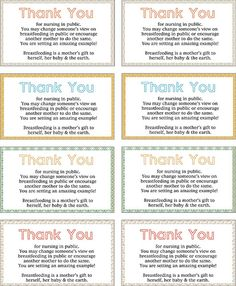 Thank You for Breastfeeding in Public cards - print & hand out to those wonderful nursing mamas you see