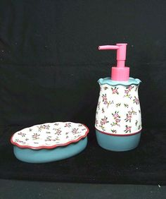 "Sear's Cannon Heritage ""Sarah"" Floral Set of Soap Dish & Lotion Pump…"