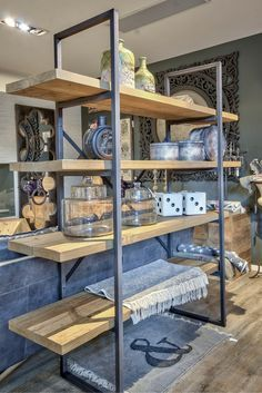 Styling on bookcase made with black structure and 4 shelves… Steel Furniture, Industrial Furniture, Diy Furniture, Furniture Design, Pine Wood Furniture, Furniture Removal, Repurposed Furniture, Furniture Makeover, Painted Furniture