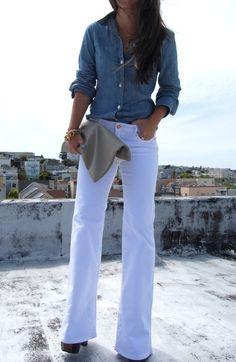 White wide legged trouser