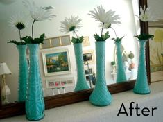 Cheap and Simple Vase Bottle Makeovers. What a cool thing to do with those crappy vases you get all the time and then don't know what to do with after the flowers die.