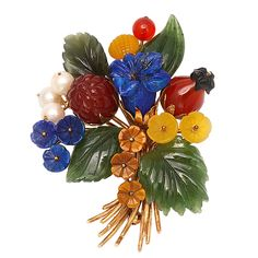Austrian Hard Stone Carved Flowers Spray Brooch | From a unique collection of vintage brooches at https://www.1stdibs.com/jewelry/brooches/brooches/